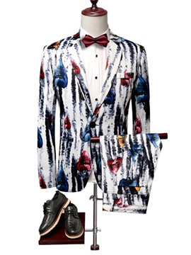 Ericdress Color Block Button Blazer Mens Dress Suit