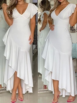 Ericdress Asymmetry Cap Sleeves V-Neck Ruffles Prom Dress 2019