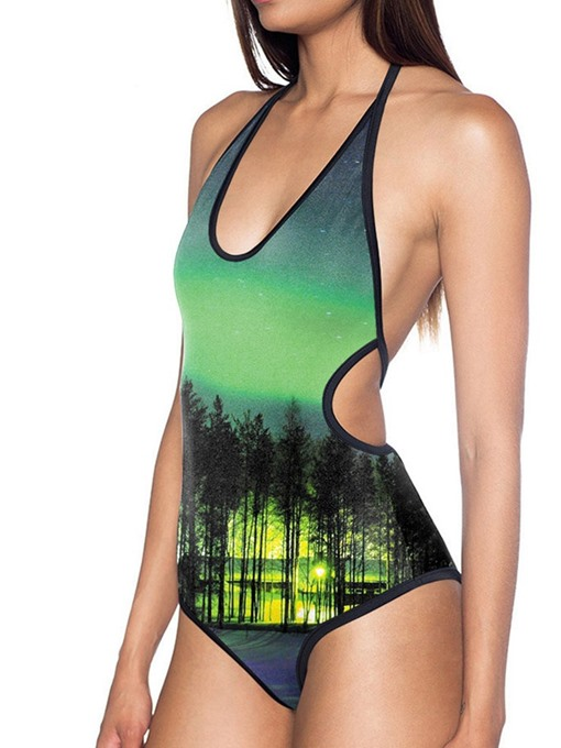 Ericdress Color Block Plant Lace-Up Swimwear