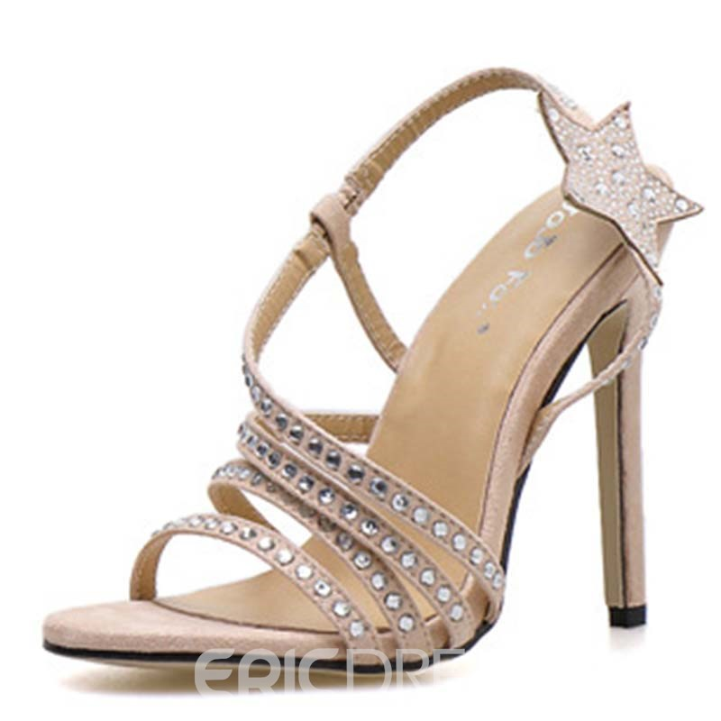 Ericdress Rhinestone Star Stiletto Heel Slip-On Women's Sandals