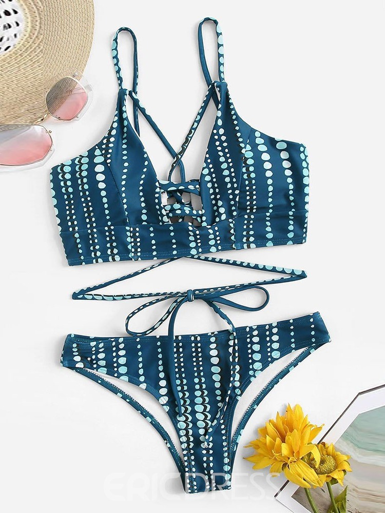 Ericdress Polka Dots Lace-Up Skimpy Swimsuit