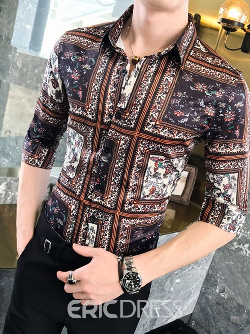 Ericdress Floral Button Lapel Slim Mens Single-Breasted Shirt