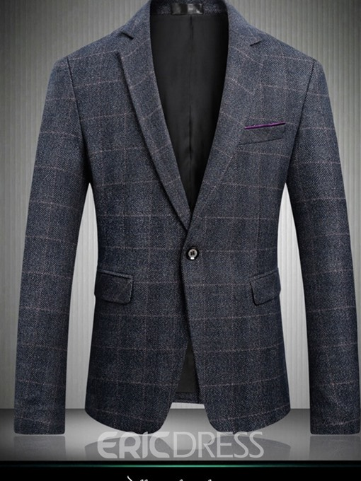 Ericdress Slim Notched Lapel Mens Plaid Blazer