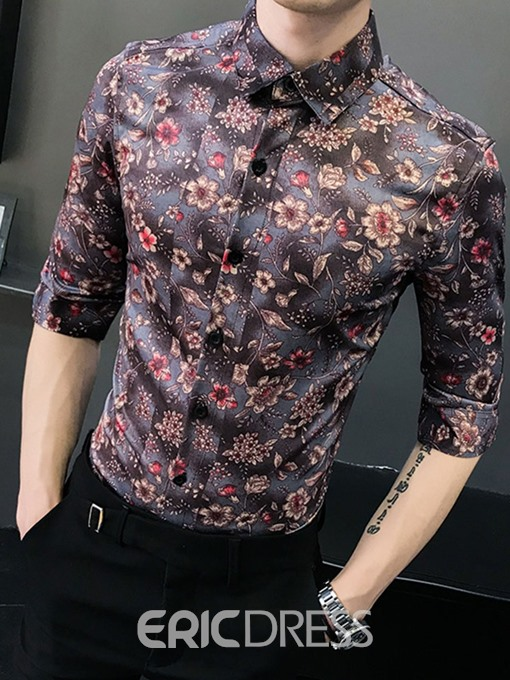 Ericdress Casual Floral Lapel Summer Mens Slim Shirt