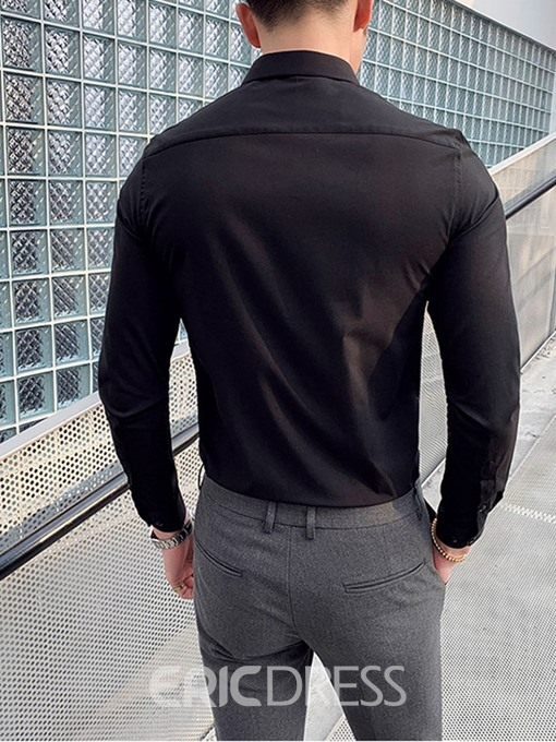 Ericdress Casual Plain Button Single-Breasted Mens Slim Shirt