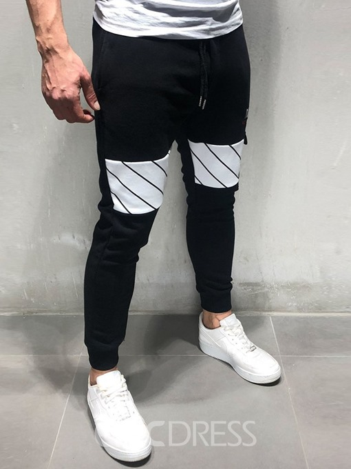 Ericdress Letter Lace-Up Thin Mens Casual Pants