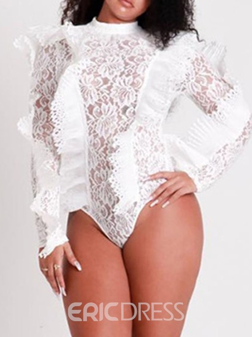 Ericdress Lace Plain Skinny Sexy See-Through Bodysuit