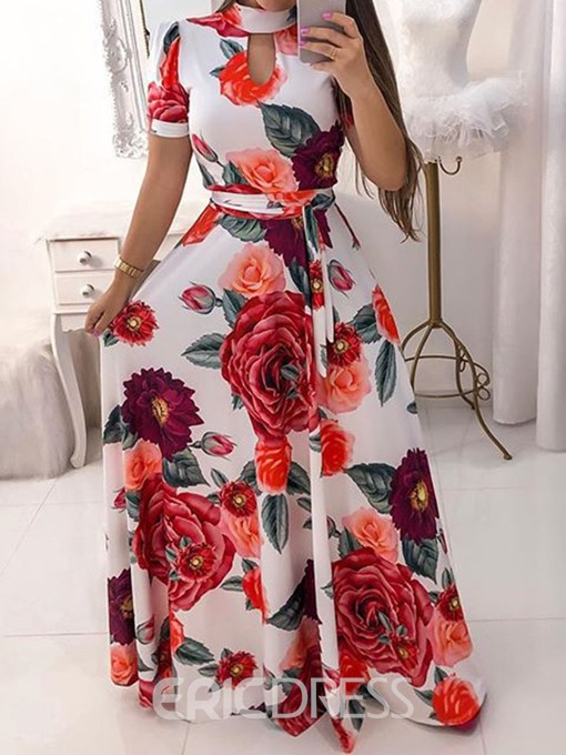 Ericdress Turtleneck Floor-Length Print Party Pullover Dress