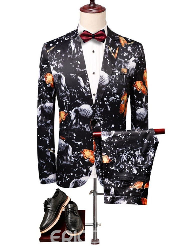 Ericdress Color Block Fashion Button Mens Dress Suit
