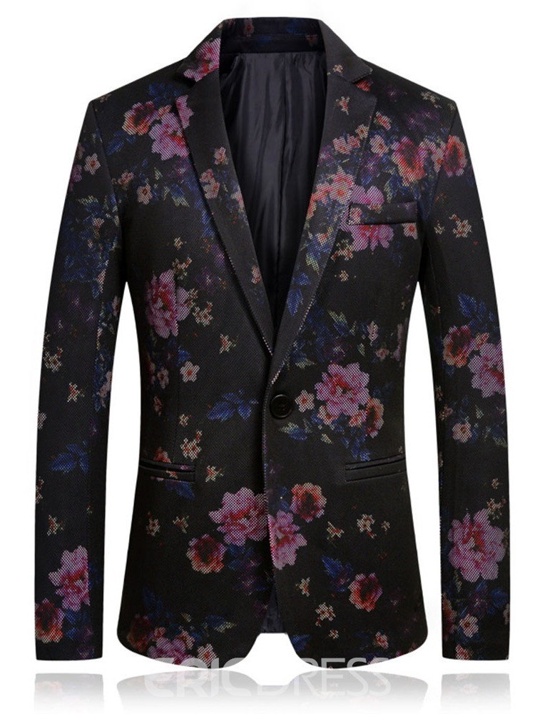 Ericdress Notched Lapel Slim Floral Mens Blazers