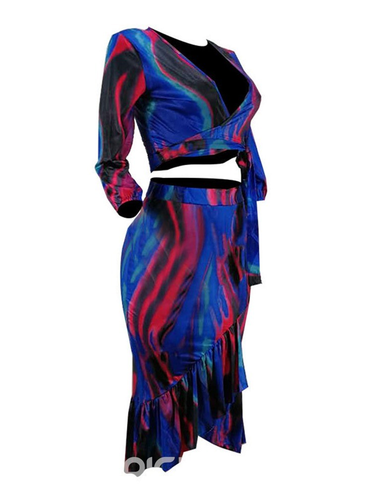 Ericdress Color Block Print Mermaid African Fashion T-shirt And Skirt Two Piece Sets
