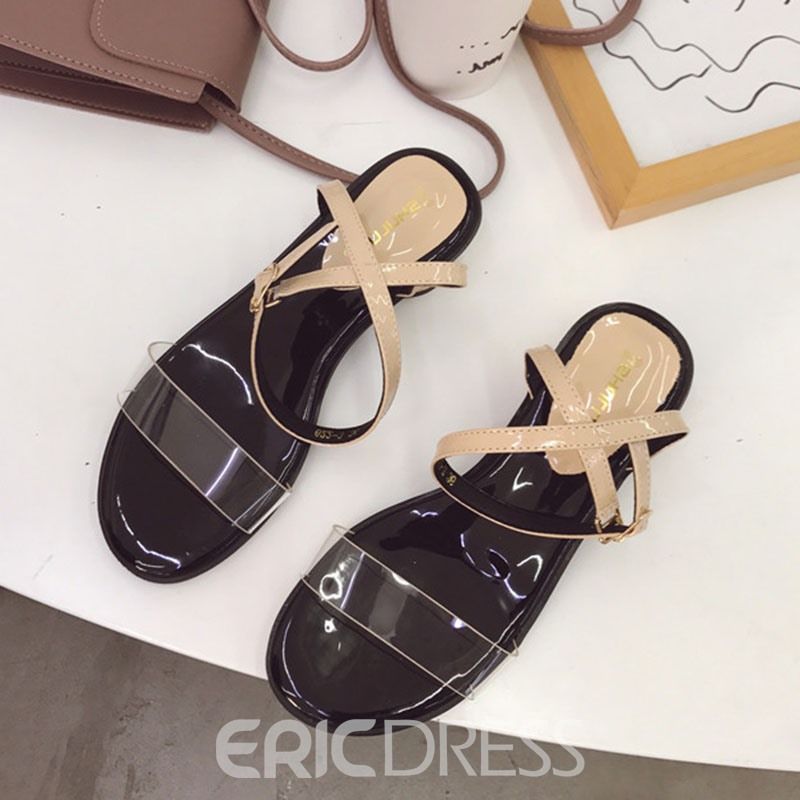 Ericdress PVC Chunky Heel Slingback Strap Women's Casual Sandals