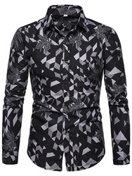 Ericdress Lapel Button Color Block Mens Single-Breasted Shirt фото