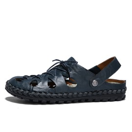Ericdress Plain Hollow Lace-Up Slip-On Men's Sandals