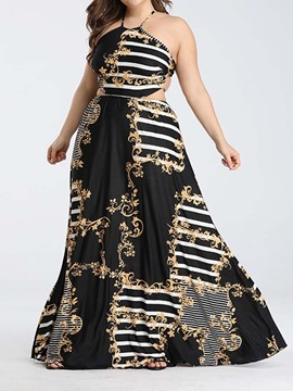 Ericdress Plus Size Floor-Length Sleeveless Backless African Fashion Dress