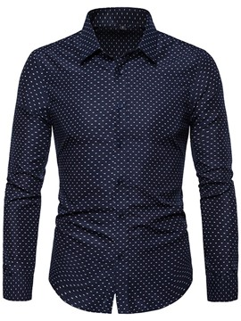 Ericdress Polka Dots Casual Button Mens Slim Shirt
