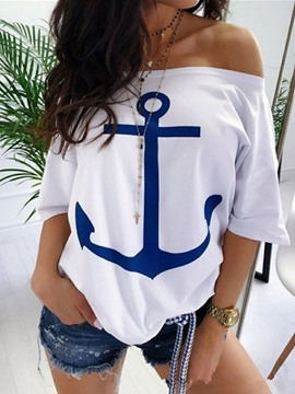 Ericdress Off Shoulder Half Sleeve Casual T-Shirt