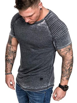 Ericdress Round Neck Pleated Casual Slim Mens Short Sleeve T-shirt