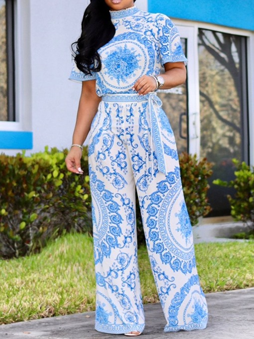Ericdress Full Length Floral Wide Legs Loose Jumpsuit