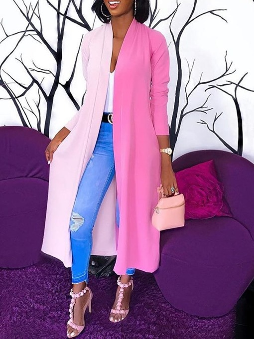 Ericdress Patchwork Long Wrapped Casual Trench Coat