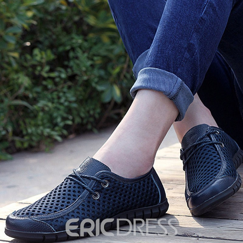 Ericdress PU Hollow Round Toe Men's Casual Shoes