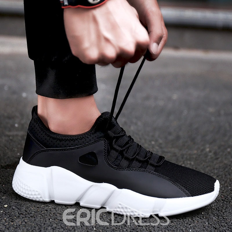 Ericdress Plain Mesh Round Toe Lace-Up Men's Sneakers