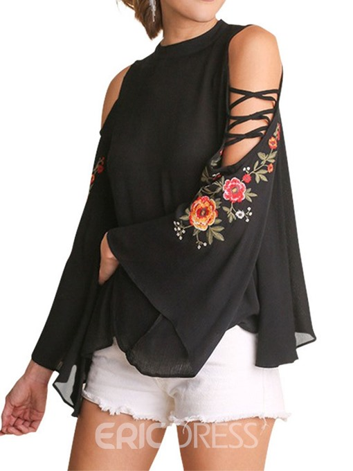 Ericdress Floral Flare Sleeve Embroidery Casual Blouse