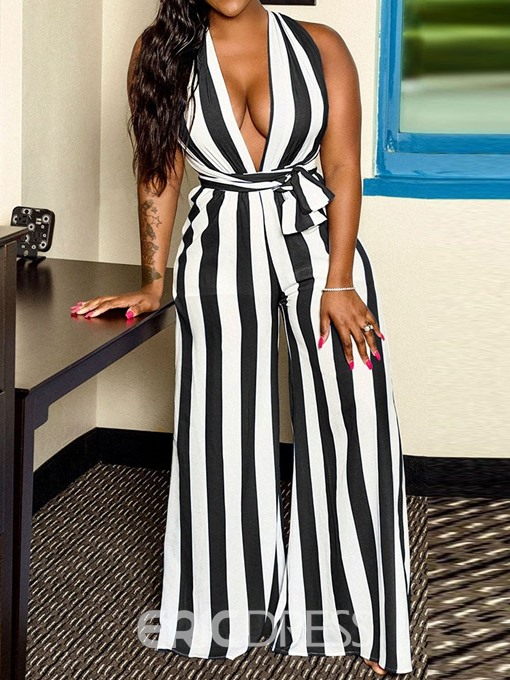 Ericdress Stripe Sexy Full Length Loose Wide Legs Jumpsuit