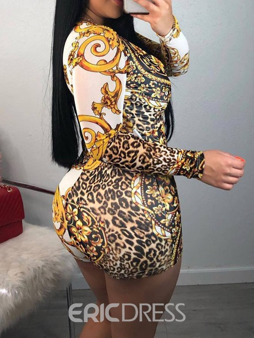 Ericdress African Fashion Print Floral Mid Waist Skinny Sexy Jumpsuit