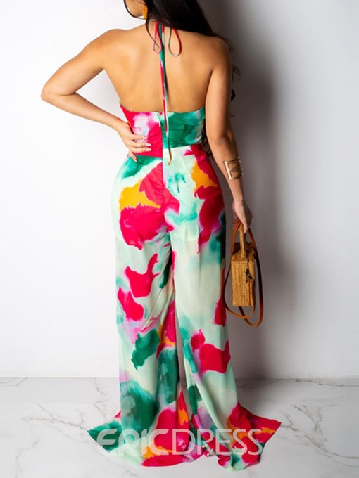 Ericdress African Fashion Sexy Print Lace-Up Color Block Split Loose Jumpsuit