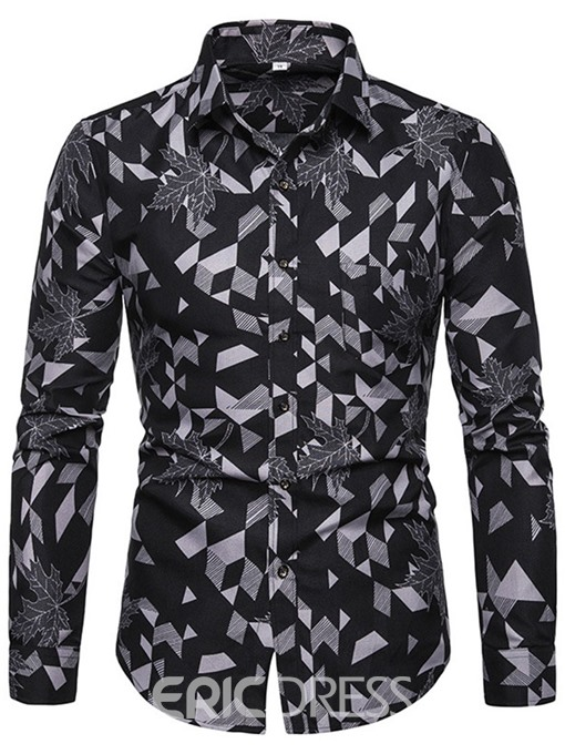 Ericdress Lapel Button Color Block Mens Single-Breasted Shirt
