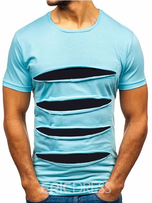 Ericdress Casual Color Block Round Neck Short Sleeve Mens Slim T-shirt