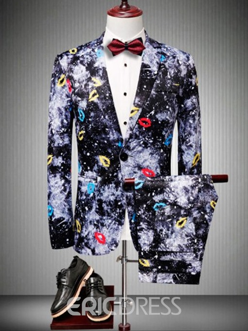 Ericdress Blazer Pocket Color Block Mens Dress Suit
