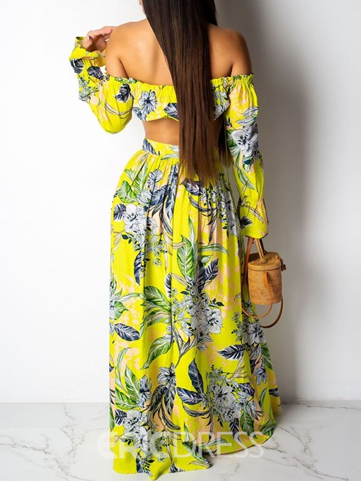 Ericdress Print Floral Sexy Casual A-Line T-Shirt And Skirt Two Piece Sets