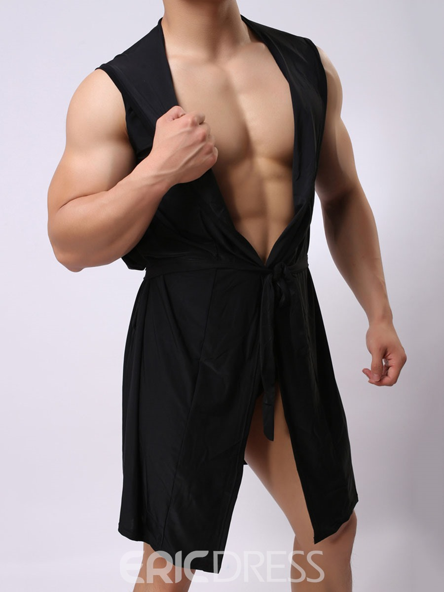 Ericdress Men Plain Sleeveless Hooded Lace-Up Night-Robes