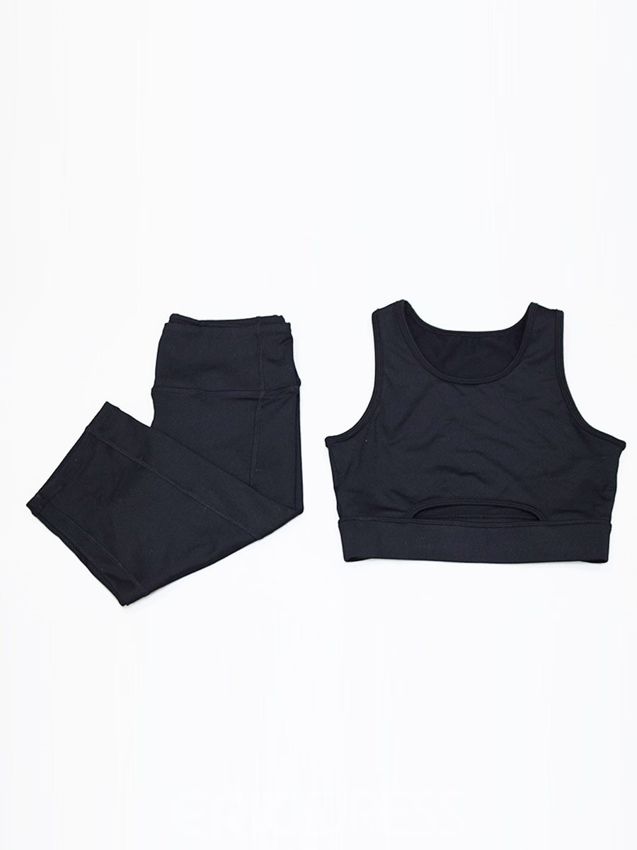 Ericdress Solid Breathable Sleeveless Shorts Gym Sports Sets