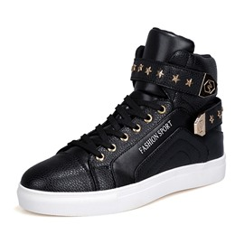Ericdress PU Rivet Lace-Up High-Cut Upper Men's Sneakers
