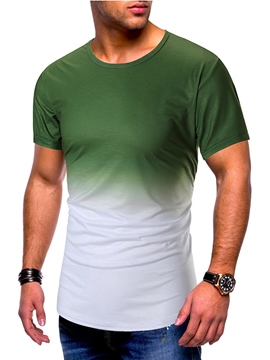 Ericdress European Color Block Mens Short Sleeve Slim T-shirt