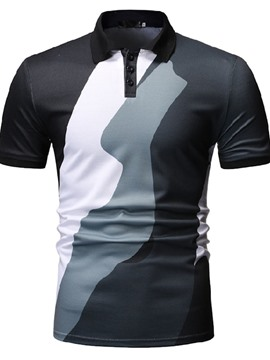 Ericdress Casual Color Block Button Mens Polo Shirt