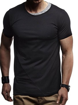 Ericdress Casual Color Block Round Neck Slim Mens Short Sleeve T-shirt