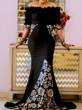 Ericdress African Fashion Floor-Length Off Shoulder Trumpet Dress