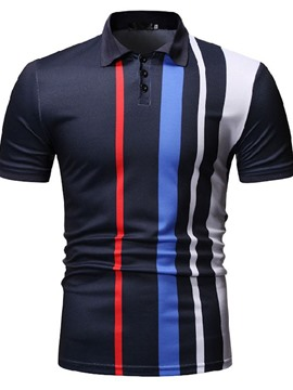Ericdress Color Block Casual Button Mens Polo Shirt