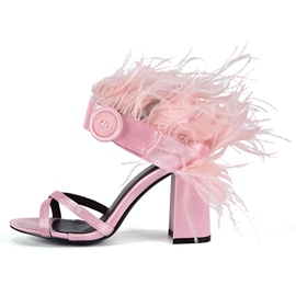 Ericdress Feather Open Toe Chunky Heel Slip-On Women's Sandals