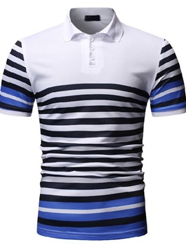 Ericdress Stripe Casual Polo Neck Mens Shirt