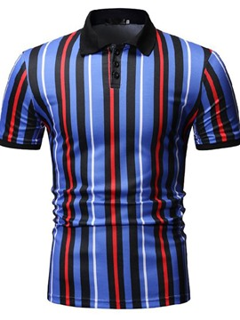 Ericdress Color Block Mens Button Polo Shirt