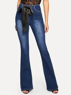 Ericdress Plain Bowknot Bellbottoms Loose Lace-Up Jeans