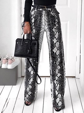 Ericdress Print Slim Serpentine Full Length Straight Casual Pants