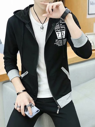 Ericdress Thin Letter Print Casual Men's Hoodies