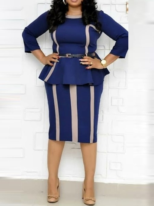 Ericdress Patchwork Office Lady Bodycon Slim Shirt And Skirt Two Piece Sets(Without Belt)