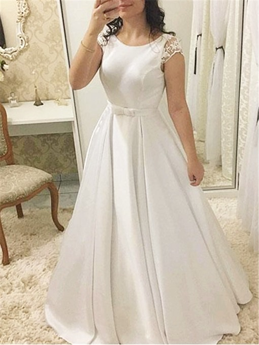 Ericdress Lace Cap Sleeve Church Wedding Dress